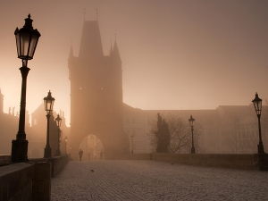 Morning on the famous Charles Bridge. The only part of the day when there are no tourists, so that you can feel the real spirit of this magic place.