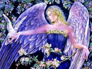 angel con palomas mensajero