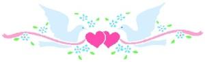 separador palomas corazones
