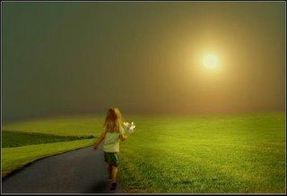 niña luz camino flores