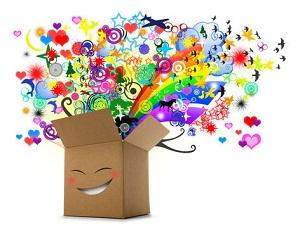caja con colores