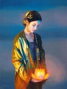 mujer oriental luz flor de loto