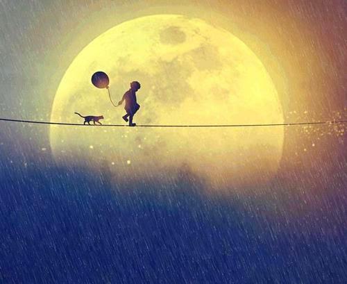 soledad niño luna gato globo