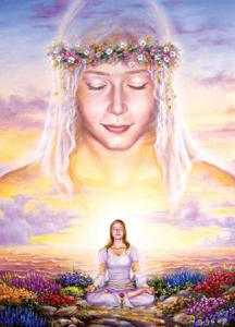 meditacion guias espirituales mujer flores